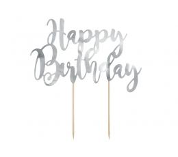 """Torto dekoracijas """"Happy Birthday"""", sidabrinė"""