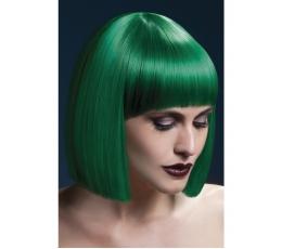 Trumpų, žalių plaukų perukas