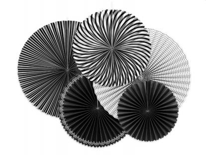 Vėduoklių rinkinys, juodai-baltas (5 vnt.)