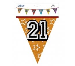 """Vėliavėlių girlianda """"21"""", įvairiaspalvė (8 m.)"""