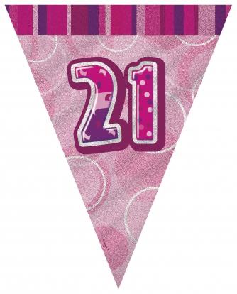 """Vėliavėlių girlianda """"21"""", rožinė (3.6 m.)"""