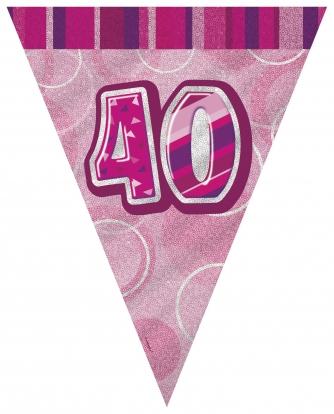 """Vėliavėlių girlianda """"40"""", rožinė (3.6 m.)"""
