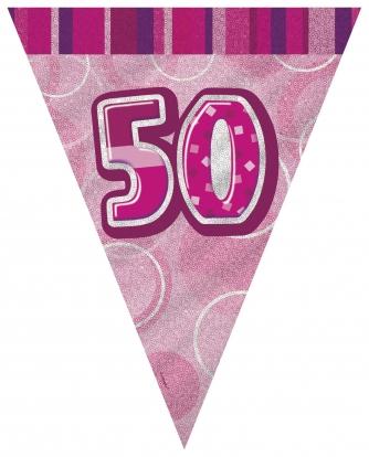 """Vėliavėlių girlianda """"50"""",rožinė (3.6 m.)"""
