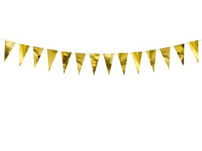 Vėliavėlių girlianda, auksinė (90 cm)