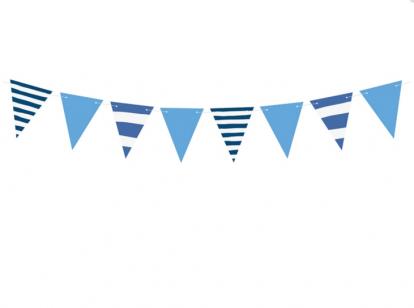 Vėliavėlių girlianda, dryžuotai mėlyna (1,3 m)