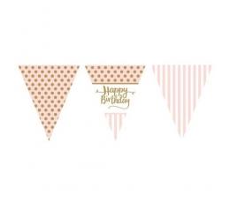 """Vėliavėlių girlianda """"Happy Birthday"""", rausvai auksinė (3,7 m)"""