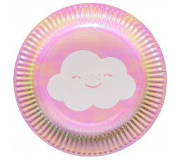"""Vienkartinės lėkštės """"Debesėliai""""/rožinė (8 vnt./17.7 cm.)"""