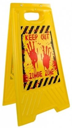 """Ženklas-stovelis """"Keep out- Zombie zone"""" ( 54x30 cm)"""