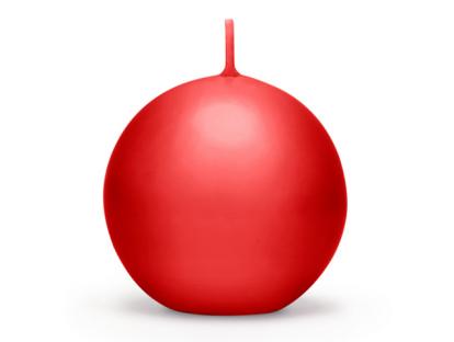 Žvakė, apvali raudona matinė (8 cm)