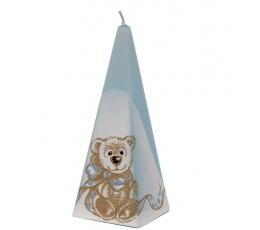 """Žvakė """"Piramidė"""", žydra (15 cm.)"""