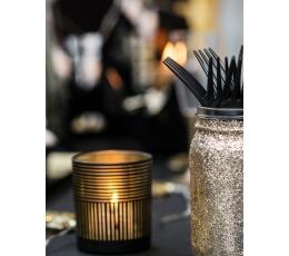 (NUOMA) Žvakidė - stiklinė, juodai auksinė (7,5 cm)