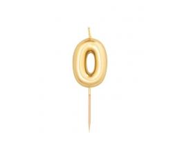 """Žvakutė """"0"""", auksinė (8 cm)"""