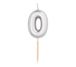 """Žvakutė """"0"""", sidabrinė (8 cm)"""