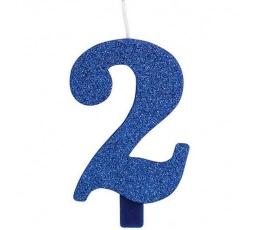 """Žvakutė """"2"""", mėlyna (9,5 cm)"""