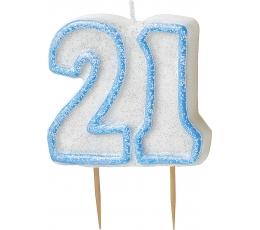 "Žvakutė ""21"" / melsva (1 vnt.)"