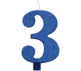 """Žvakutė """"3"""", mėlyna (9,5 cm)"""