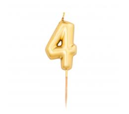 """Žvakutė """"4"""", auksinė (8 cm)"""