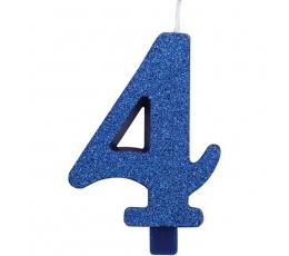 """Žvakutė """"4"""", mėlyna (9,5 cm)"""