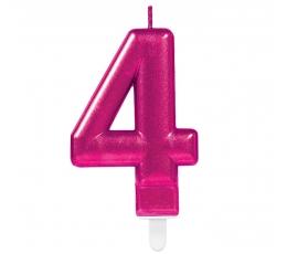 """Žvakutė """"4"""", ryškiai rožinė"""