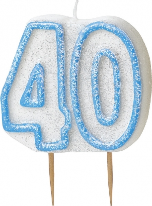 "Žvakutė ""40"", melsva (1 vnt.)"
