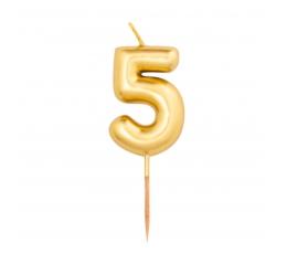 """Žvakutė """"5"""", auksinė (8 cm)"""