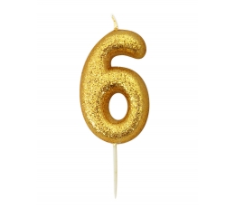 """Žvakutė """"6"""", auksinė"""