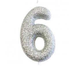 """Žvakutė """"6"""", sidabrinė"""