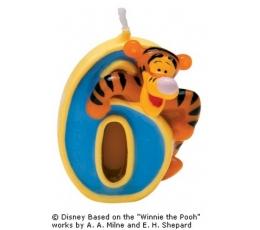 """Žvakutė """"6"""" su tigriuku"""