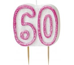 """Žvakutė """"60"""" rožinė (1 vnt.)"""