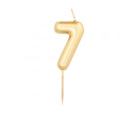 """Žvakutė """"7"""", auksinė (8 cm)"""