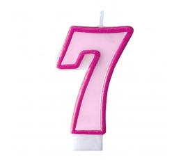 """Žvakutė """"7"""", rožinė"""