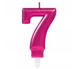 """Žvakutė """"7"""", ryškiai rožinė"""