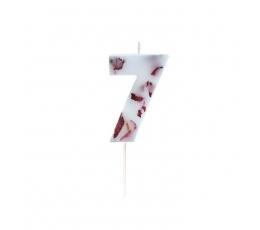 """Žvakutė """"7"""" su įspaustais žiedlapiais"""