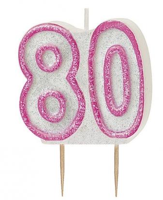 """Žvakutė """"80"""" rožinė (1 vnt./5.5 cm)"""