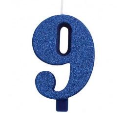 """Žvakutė """"9"""", mėlyna (9,5 cm)"""