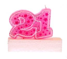 """Žvakutė, rožinė """"21"""""""