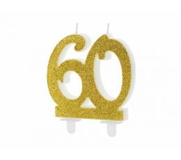 """Žvakutė - skaičius """"60"""" auksinė (1 vnt.)"""