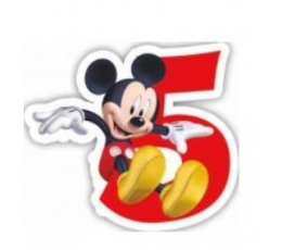 """Žvakutė - skaičius Peliukas Mikis """"5"""" (1 vnt.)"""