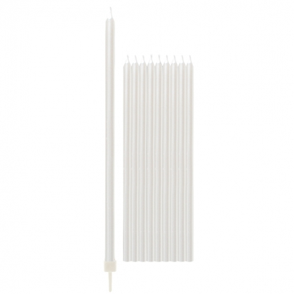 Žvakutės, baltos perlamutrinės ilgos (10 vnt./15 cm)