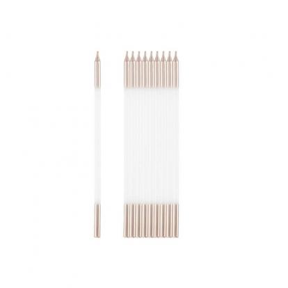 Žvakutės, baltos-rožinio aukso (10 vnt./15 cm)