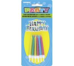 Žvakutės ir Happy Birthday užrašas (12 vnt.)