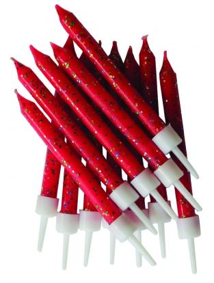 Žvakutės,  raudonos blizgios (12 vnt.)