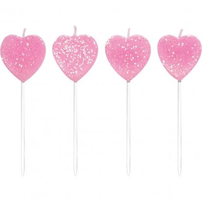 """Žvakutės """"Rožinės širdelės"""" (10 vnt.)"""