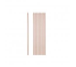 Žvakutės, rožinio aukso spalvos (10 vnt./15 cm)