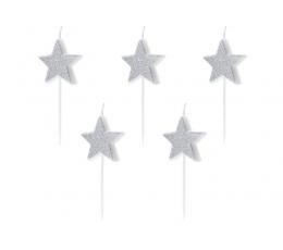 """Žvakutės  """"Sidabrinės žvaigždės"""" (5 vnt.)"""