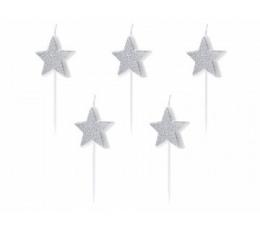 """Žvakutės """"Sidabrinės žvaigždutės"""" (5 vnt.)"""