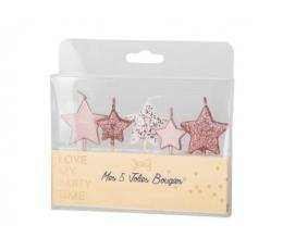 """Žvakutės-smeigtukai """"Žvaigždutės"""", rožinio aukso (5 vnt./7 cm)"""