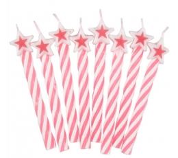 Žvakutės su žvaigždutėmis -  rožinės (8 vnt.)
