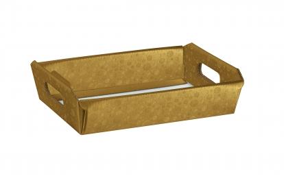 Padėkliukas su rankenomis, auksinis (31X22X9 cm)