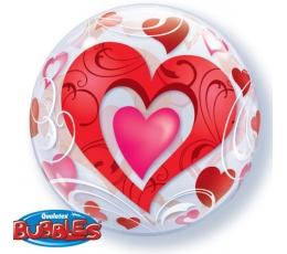 """Balionas-bablas """"Raudonos širdelės"""" (56 cm)"""